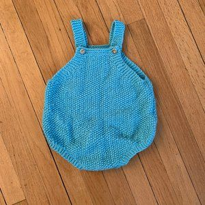 Other - Pale blue hand knit bubble romper for baby